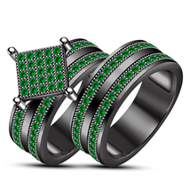 3Ct Green Emerald With 14K Black Gold Over Bridal Wedding Ring Set Silver 925 - $85.00
