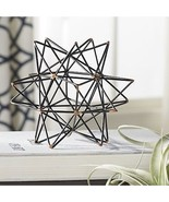 Wire Star Iron Sculpture Black Gold Modern Metal Statue Abstract Accent ... - $1,485.95