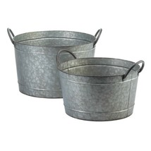 2 Galvanized Metal Bucket Planters w/ Handles 1 Large & 1 Small Country ... - $71.23