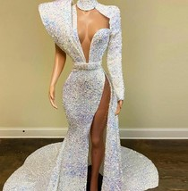 Luxury Mermaid Prom Wedding Dress 2021- One Shoulder Side Slit Formal Pa... - $459.00