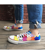 Low Top Converse Design Puzzle Hand Painted Canvas Sneakers Men Women Shoes - $149.00