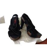 BETSEY JOHNSON BETSEYVILLE Black Suede Leather Strappy Cork Platform Hee... - $24.74