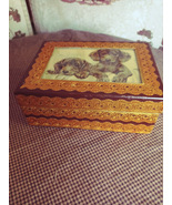 Trinket Box with Puppy Picture inlaid on lid 1960's - $15.00