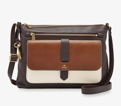 New Fossil Women Kinley Large Leather Crossbody Bag Neutral Multi Color - $128.69
