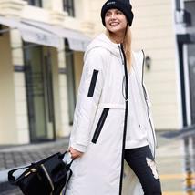 Women Winter Causal Fashion Solid 90% White Duck Down Zipper Long Hooded Parka C