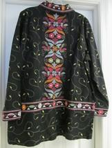 Denim & Co Western Style Jacket Coat Top Cotton Embroidered Black L NWOT - $29.95