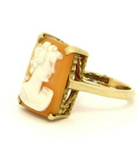 Antique Victorian 9k Yellow Gold Cameo Ring Size 6.5 - $189.00