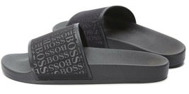 Hugo Boss Men's Slip On Graphic Solar Logo 2 Slider Sandals 50401863 Black image 5