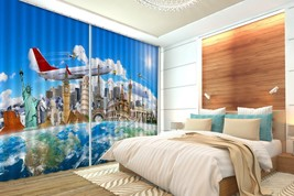 3D Aircraft City 31 Blockout Photo Curtain Print Curtains Drapes US Lemon - $177.64+