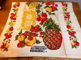 Vintage Parisian Prints Pineapple Floral Grapes Linen Tea Towel Dish Tow... - $17.82