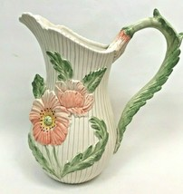 Vintage Fitz and Floyd Pitcher Flowers Pink Green Floral 1980's White Japan  - $118.79