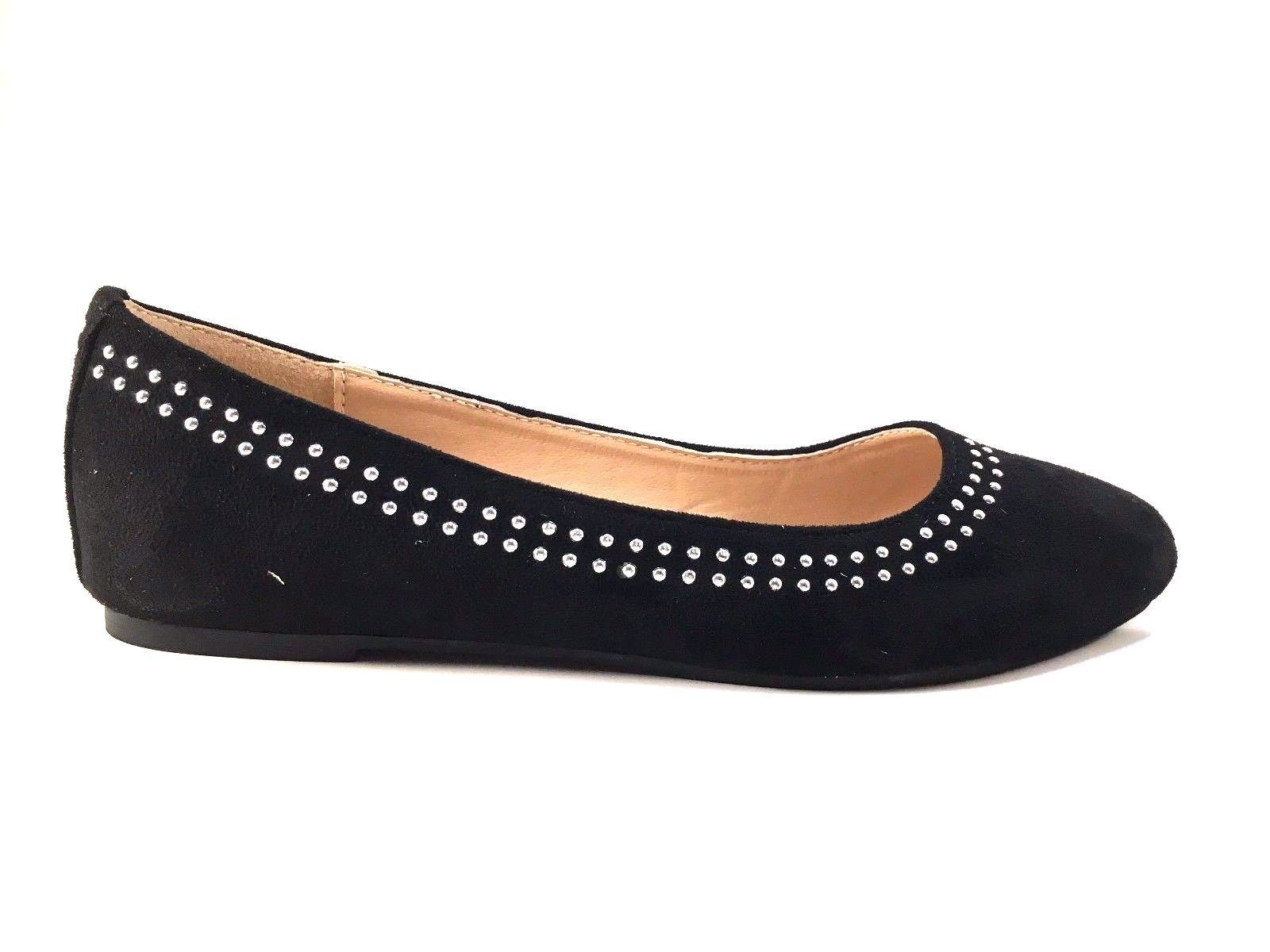 Wanted Rumors Black Suede Round Toe Ballet Flats