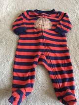 Child Of Mine Boys Orange Navy Blue Striped Lion Long Sleeve Pajamas 0-3 Months  - $5.00