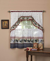 Achim Home Furnishings Rooster Tier and Swag Set, 57' x 36', Burgundy - $22.82