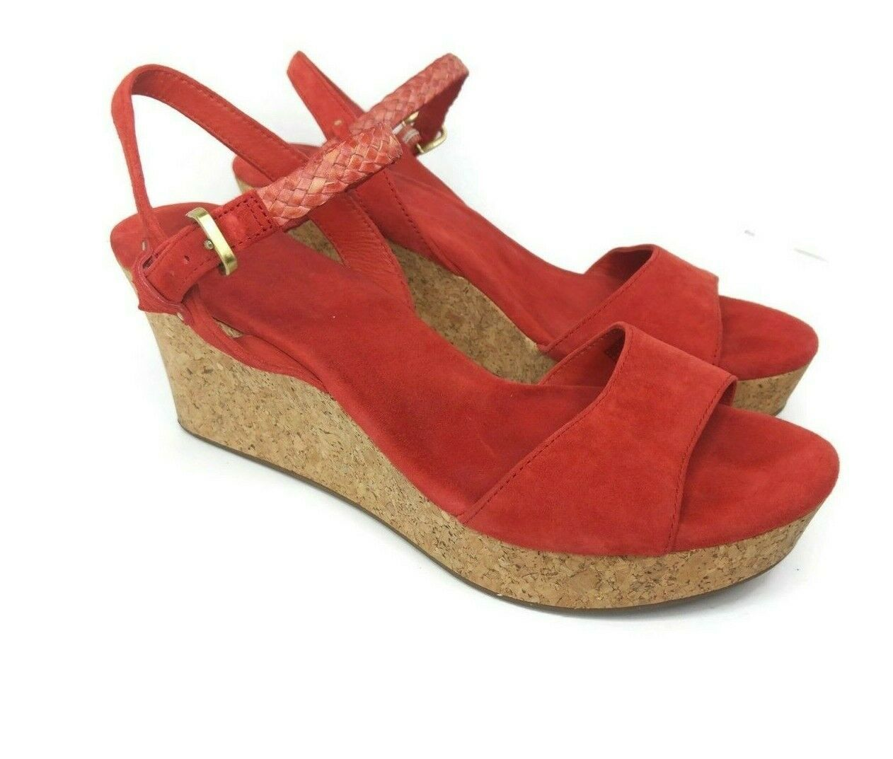 Primary image for UGG D'Alessio Womens Size 11 Orange Leather Braid Wedge Cork Sandal Suede