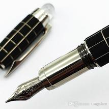luxury Classique black checkered Fountain Pen 14k 4810 nib white star crystal to - $19.99