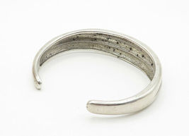 925 Sterling Silver - Vintage Genuine Diamond Dotted Ribbed Cuff Bracelet- B6308 image 3