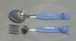 Vintage Walt Disney Productions Blue Plastic Handled Bambi Fork Pluto Sp... - $18.81