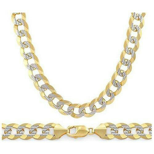 6.9mm Cuban Curb Silver 14k Y Gold Plated Men Link Italian Chain Necklace