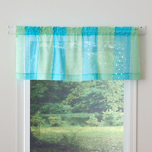 "Glitter Spice Sparkle Tailored Decorative Window Valance, Agua 54""x18""- NEW"