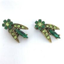 Vintage Signed Selini Rhinestone Earrings Gold Tone Emerald Peridot Colors - $17.29