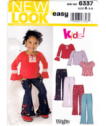 New Look 6337 Girls Sewing Pattern Childrens Shirts Pants Sizes 3-4-5-6-7-8 - $5.95