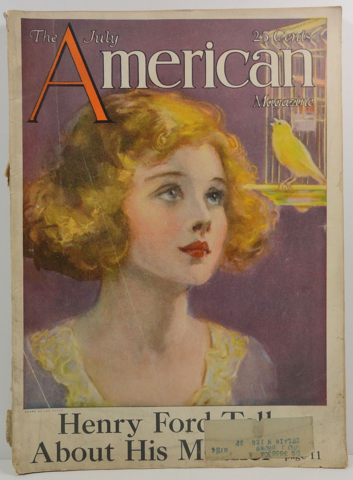 The American Magazine July 1923 Lou Mayer Cover