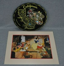 California Disneyland Metal Tray Snow White And The Seven Dwarfs Lithograph - $35.00