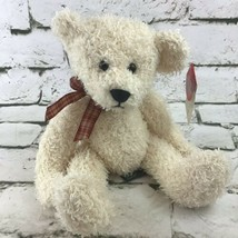Vintage Russ Berrie Frizzly Teddy Bear Plush Cream Shaggy Plaid Ribbon S... - $14.84