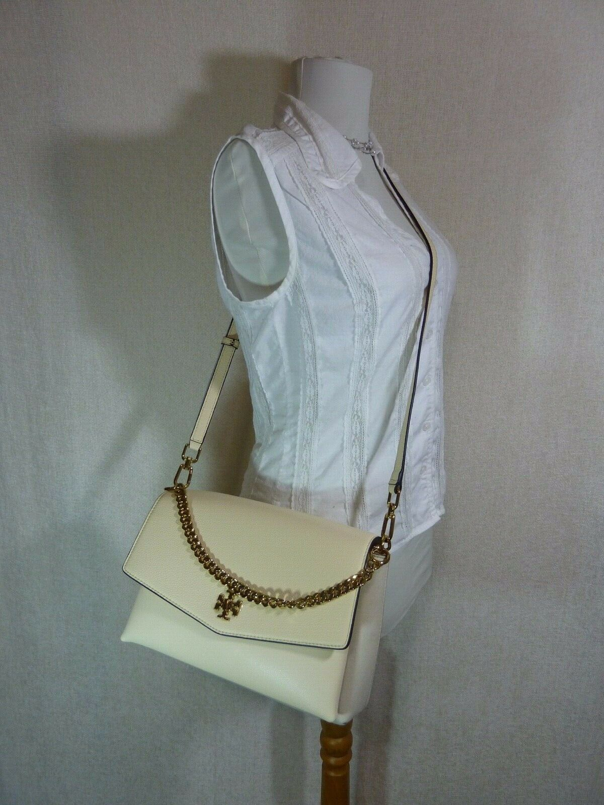 NWT Tory Burch New Cream KIRA Mixed-material Double-strap Shoulder Bag $528 image 10