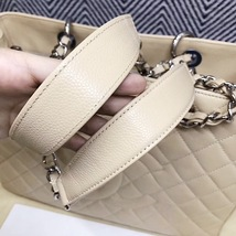 AUTHENTIC CHANEL QUILTED CAVIAR GST GRAND SHOPPING TOTE BAG BEIGE SHW RECEIPT  image 8