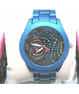 Betsey Johnson Abstract Feather Motif Dial & Bracelet Watch Blue/Black O... - $97.02