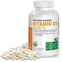 Bronson Vitamin D3 2000 IU Certified Organic Vitamin D, Non-GMO, USDA Certified, - $14.84