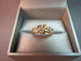 10K JCR John C Rinker Yellow Gold Nugget Ring Diamond Accents 2.97g Size... - $158.39