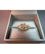 10K JCR John C Rinker Yellow Gold Nugget Ring Diamond Accents 2.97g Size... - $158.39