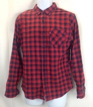 LEVIS Mens Red Plaid Button Up Long Sleeve Shirt Size Small - $20.57
