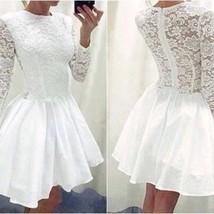 White Prom Dress,Long Sleeve Prom Dress,Lace Prom Dress,Fashion Homecoming Dress - $149.00
