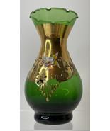 "STUNNING Rare Venetian Green Glass 5"" Vase Hand Painted 24K GOLD ITALY - $74.25"
