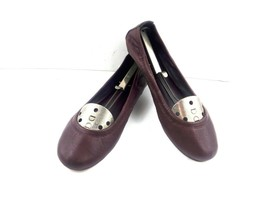 Tory Burch Women's Sz 10 Burgundy Red Leather Ballet Flats Slip On Loafe... - $59.22