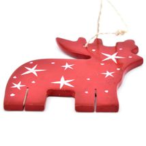 Undugu Society Hand Carved Soapstone Red Reindeer Christmas Holiday Ornament image 3