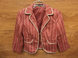 Express Design Studio Blazer Female Adult Standard Reds Striped - $22.19