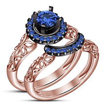 14k Rose Gold Finish 925 Sterling Silver Blue Sapphire Bridal Wedding Ring Set - $85.30