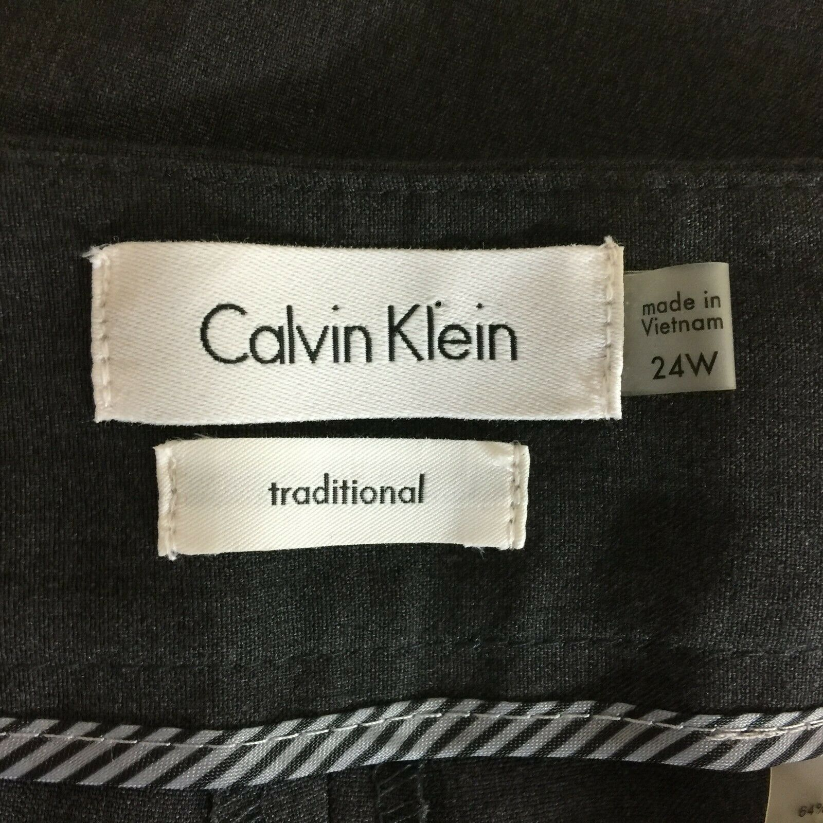 NEW Calvin Klein Women Plus 24W Trouser Charcoal Gray Traditional Fit Dress Pant