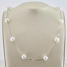Collier en or Blanc 18KT Avec Perles Blanches Akoya Ronde De Diamètre 8.... - $1,034.30