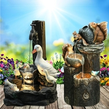 Water Fountain With LED Lights, Animal Statue, Garden Ornaments, outdoor... - $32.29
