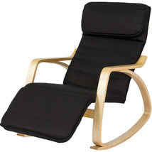 BCP Wood Recliner Rocking Chair W/ Adjustable Foot Rest Comfy Relax Loun... - $115.90