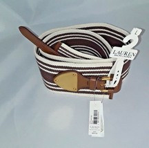 Nwt Ralph Lauren Womens White Brown Striped Stretch Belt Large Msrp $52 New - $22.31