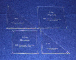 """4 Piece Square & Triangle Set 4"""" & 5"""" -- """" Clear Acrylic - Quilt Templat... - $38.99"""