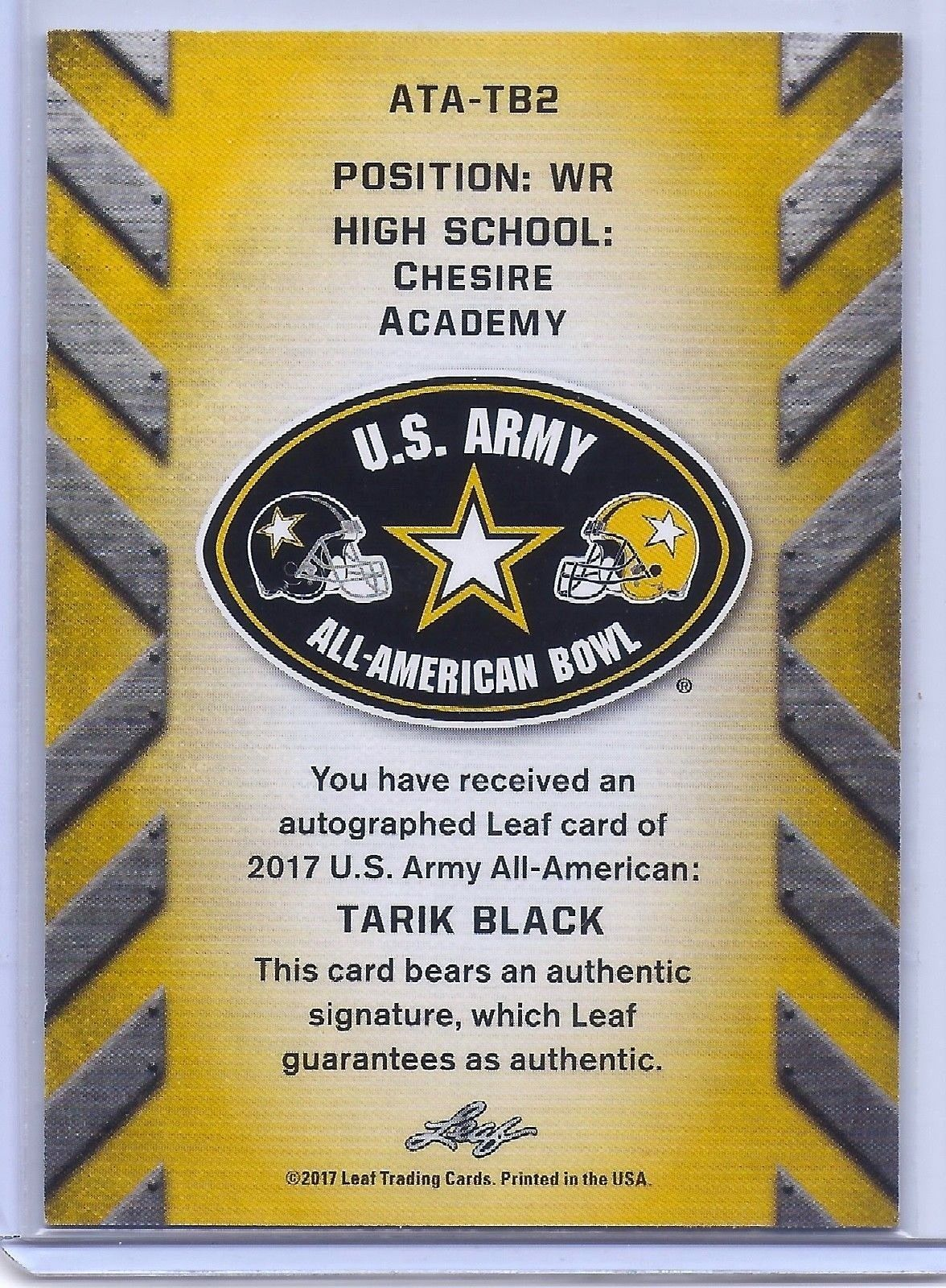 TARIK BLACK MICHIGAN WOLVERINES 2017 LEAF U.S. ARMY TOUR AUTOGRAPHED ROOKIE CARD