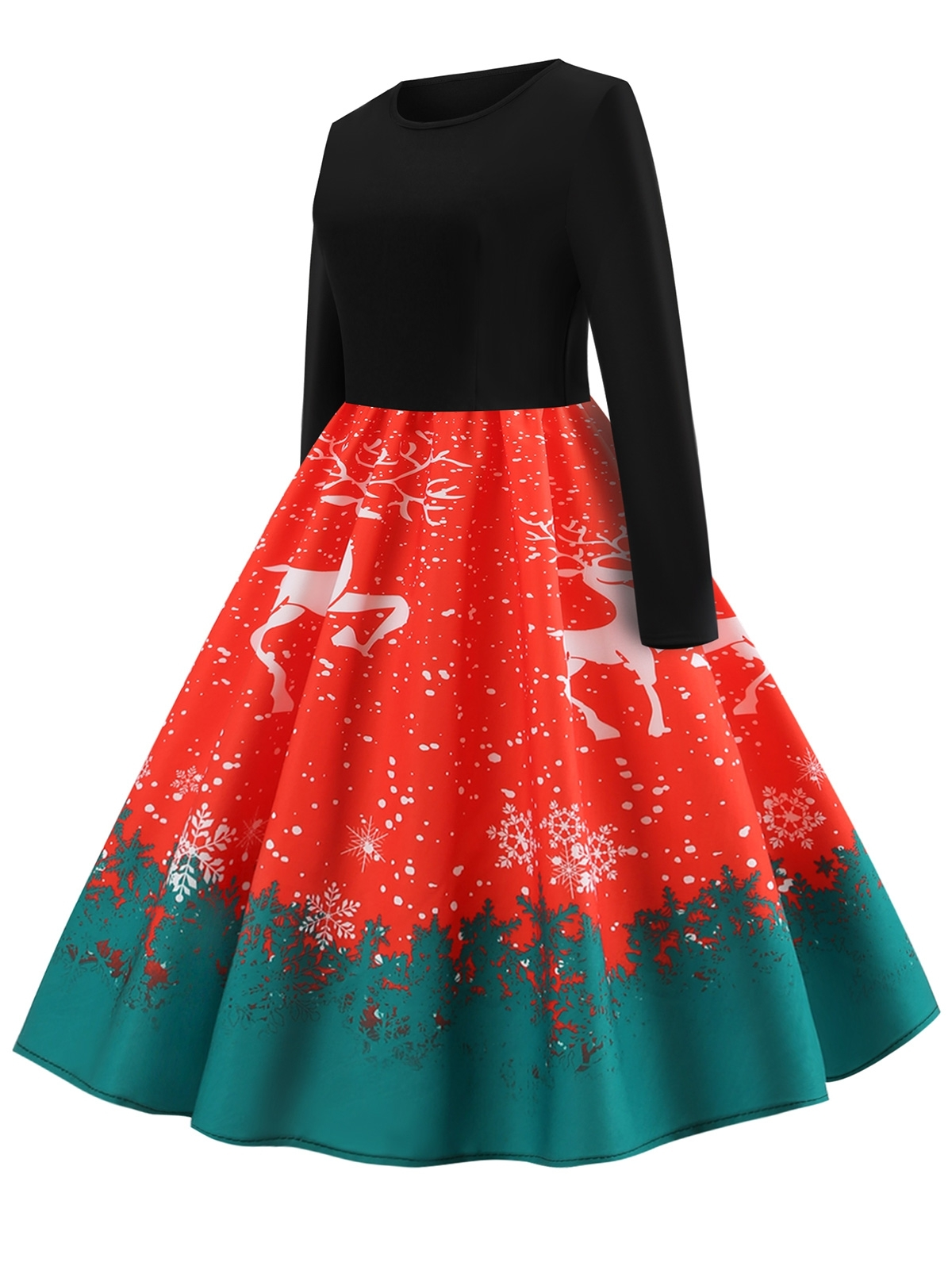Primary image for Christmas Elk Print Fit and Flare Dress